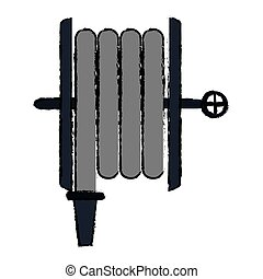 drawing fire hose holding gray