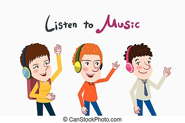 Drawing flat character design friends enjoy the music concept,vector illustration