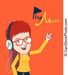 Drawing flat character enjoying music, girl design concept, vector illustration