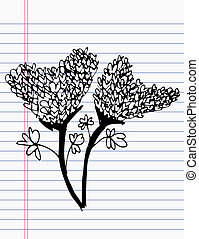 Drawing flower on paper