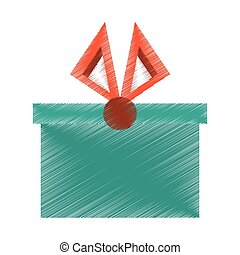 drawing gift box christmas present red bow