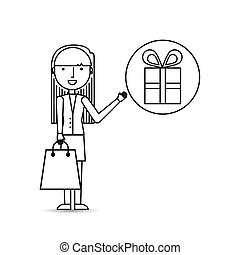 drawing girl shopping with gift box