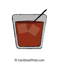 drawing glass cocktail ice drink straw