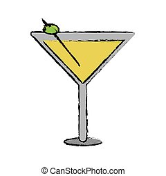 drawing glass cocktail martini with olive