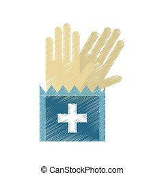 drawing gloves surgery supplies medical vector illustration...
