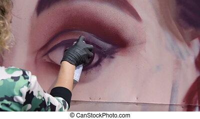 Drawing graffiti portrait