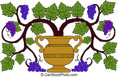 drawing grapes and leaves in a vase vector