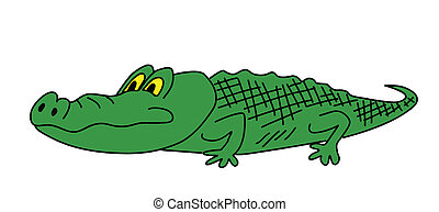 drawing green crocodile on white background