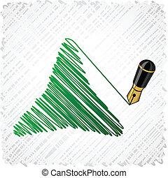 Drawing green three-star.