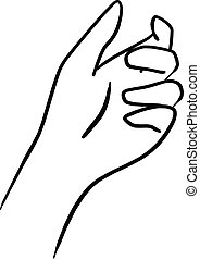 drawing hand holding something transparent vector...
