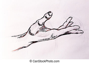 Drawing hand, pencil sketch on old paper.