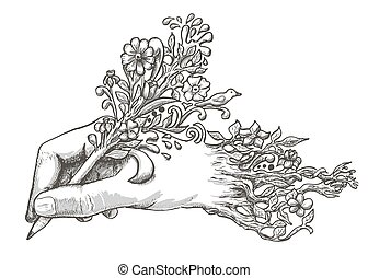 drawing hand with a flowering pencil