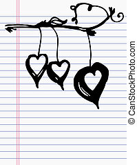Drawing heart on paper