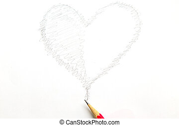 Drawing heart shape with pencil isolated on white background