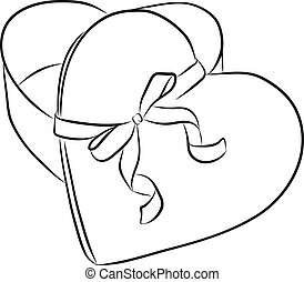 drawing heart with ribbon bow