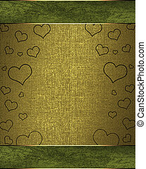 Drawing hearts on a green background, with a golden nameplate