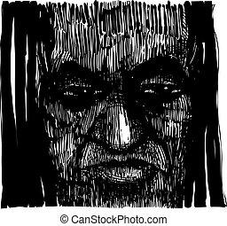 Drawing Illustration of Voodoo Sorcerer
