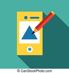 Drawing in mobile app icon, flat style