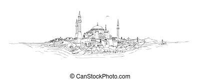 drawing istanbul silhouette hagia sophia - vector sketch...