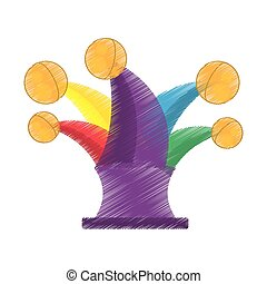 drawing jester hat april fools day vector illustration eps...