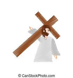 drawing jesus christ falls first time vector illustration ...