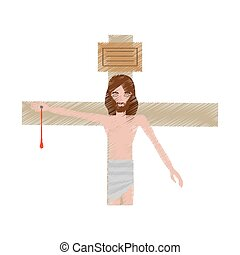 drawing jesus christ nailed the cross vector illustration...