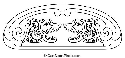 drawing., keltisch, national