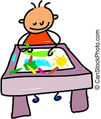 little boy sitting at a desk drawing a picture with crayons - toddler art series
