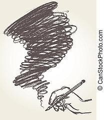 drawing., lápis, vetorial, ilustração