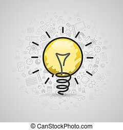 Drawing lamp art sign icon. Vector illustration