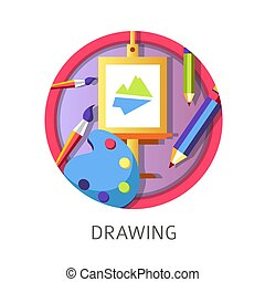 Drawing lessons at school, creativity courses of painting pictures