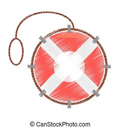 drawing life buoy rescue saver boat
