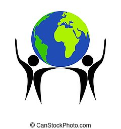 drawing logo Earth and people