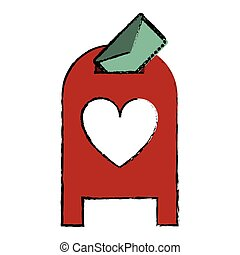 drawing love mail post box message valentine