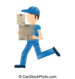drawing man delivery running box work