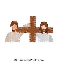 drawing man help jesus carry cross
