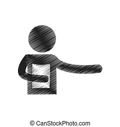 drawing man holding document figure pictogram