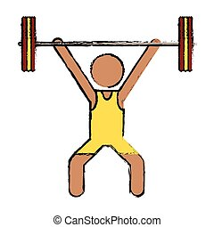 drawing man weight lifter sport athlete