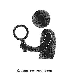 drawing man with search figure pictogram