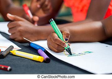 drawing., manos, niños, detalle, africano