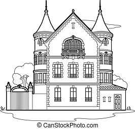 Drawing mansion - 19th century castle