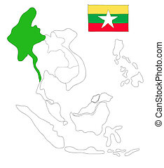 drawing  map of South East Asia countries that will be member of AEC with Myanmar flag symbol