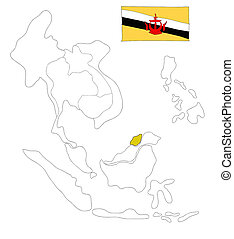 drawing  map of South East Asia countries that will be member of AEC with Bruneian flag symbol