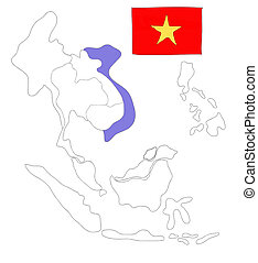 drawing  map of South East Asia countries that will be member of AEC with Vietnam flag symbol