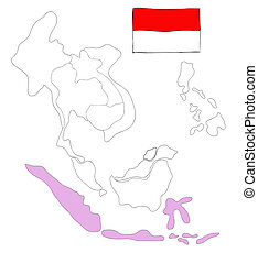 drawing  map of South East Asia countries that will be member of AEC with Indonesia flag symbol