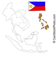 drawing  map of South East Asia countries that will be member of AEC with Philippines flag symbol