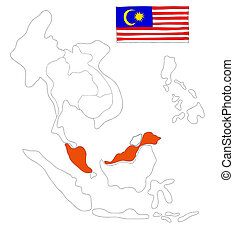 drawing  map of South East Asia countries that will be member of AEC with Malaysia flag symbol