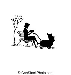 Drawing mother with a carriage