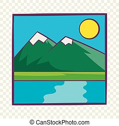 Drawing mountain landscape icon, cartoon style