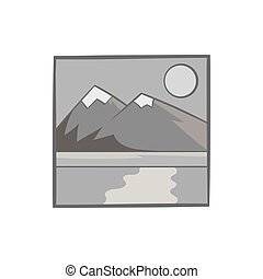 Drawing mountain landscape icon, monochrome style